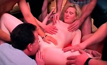 Mature blonde milf loves hard gang banging