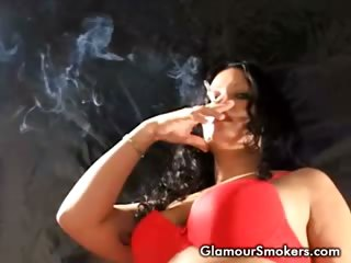 Porn Tube of Brunette Babe Smoking Sexy In Her Red Bra