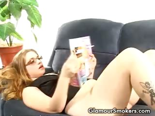 Porn Tube of Blonde Slut Playing Vibrator While Smoking