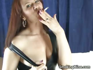Porn Tube of Brunette Babe Posing Sexy While Smoking