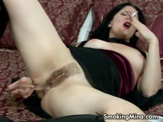 Porn Tube of Brunette Whore Masturbating While Smoking