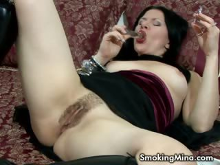 Porno Video of Brunette Whore Masturbating While Smoking