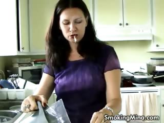 Porno Video of Brunette Babe Smoking And Drinking Coffee