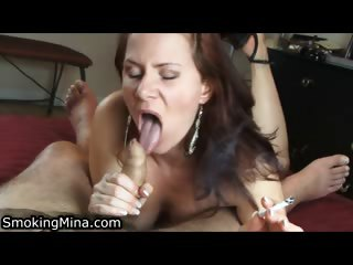 Porn Tube of Mature Horny Lady Gives A Hot Blowjob To A Guy While Smoking A Cigarette