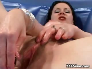 Porn Tube of Wet Brunette Slut Masturbating In The Mini Pool