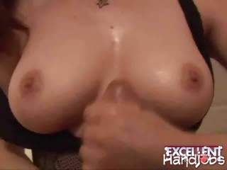 Porn Tube of Big Jugged Redhead Chick Heidi Wanking A Giant Shaft On  Her Knees