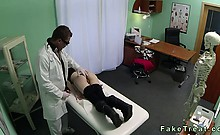 Brunette gets banged by doctor in fake hospital