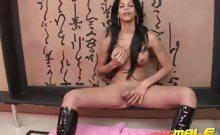 Superb brunette shemale Isabella Ferraz stripping bra and