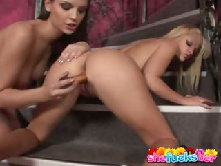 Sex Movie of Two Appealing Lesbian Nymphets Dildoing Their Sweet Poons On The Stairs
