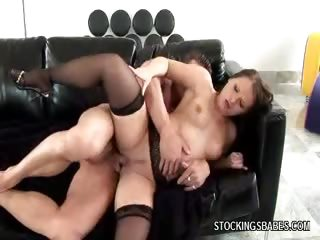 Porno Video of Redhead In Stockings Loves Anal