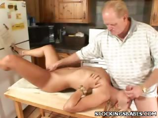 Porn Tube of Cute Blonde Performs Oral In The Kitchen