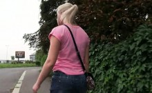 Busty blone blowjob outdoor in public passage POV