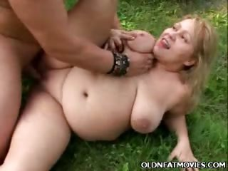 Porn Tube of Fat Mature Blonde Pounded Outdoors