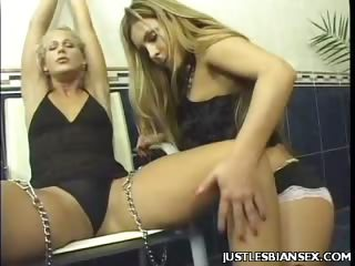 Porn Tube of Sexy Blonde Lesbian Bound