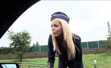 Blonde stewardess Christen Courtney pounded in strangers car