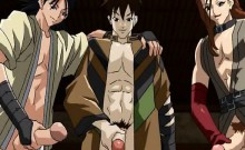 Tied naked hentai guy gets showered by sperms