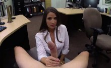 Brunette Babe Sucking On A Cock At The Pawn Shop