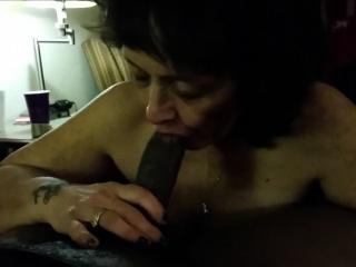 cock crazed granny blowing a big black cock