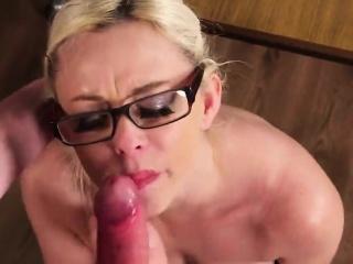 flirty sex kitten gets jizz load on her face swallowing all