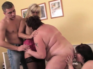 three mature sluts and one young dude