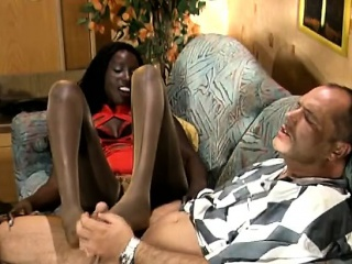 leggy african girl gives footjob and fucks white man