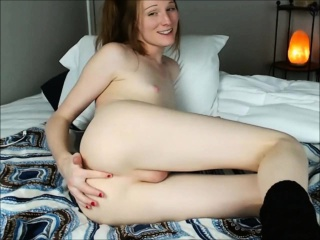beautiful ginger tranny giving a webcam show