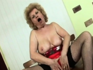 busty blonde granny gives head and gets banged