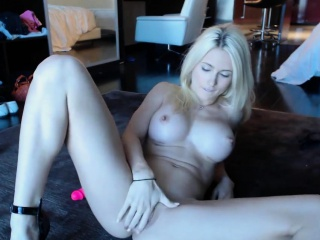 blonde webcam goddess 20 black dress and heels squirt
