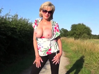 uk milf sonia shows her tits in public and sucks dick on