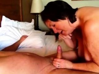 Wife Giving A Big Blowjob And Handjob