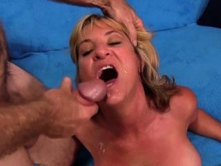 mature slut kisses a mature guy he fingers her pussy she