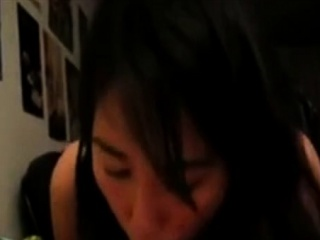 cute asian girl gives bj and gets cum in mouth