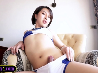Young ladyboy with a good cock blowjob and anal fucked