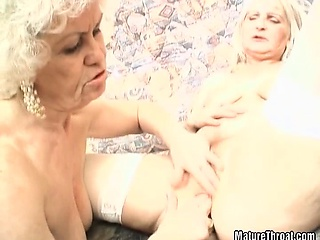 horny grandma can 't stop with pussy licking and dildoing of